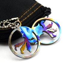 Couteau perles EDC outils couteau bricolage produire poignée pendentif EDC tc4 grillé bleu combinaison multifonction MICROTECH aigle porte-clés