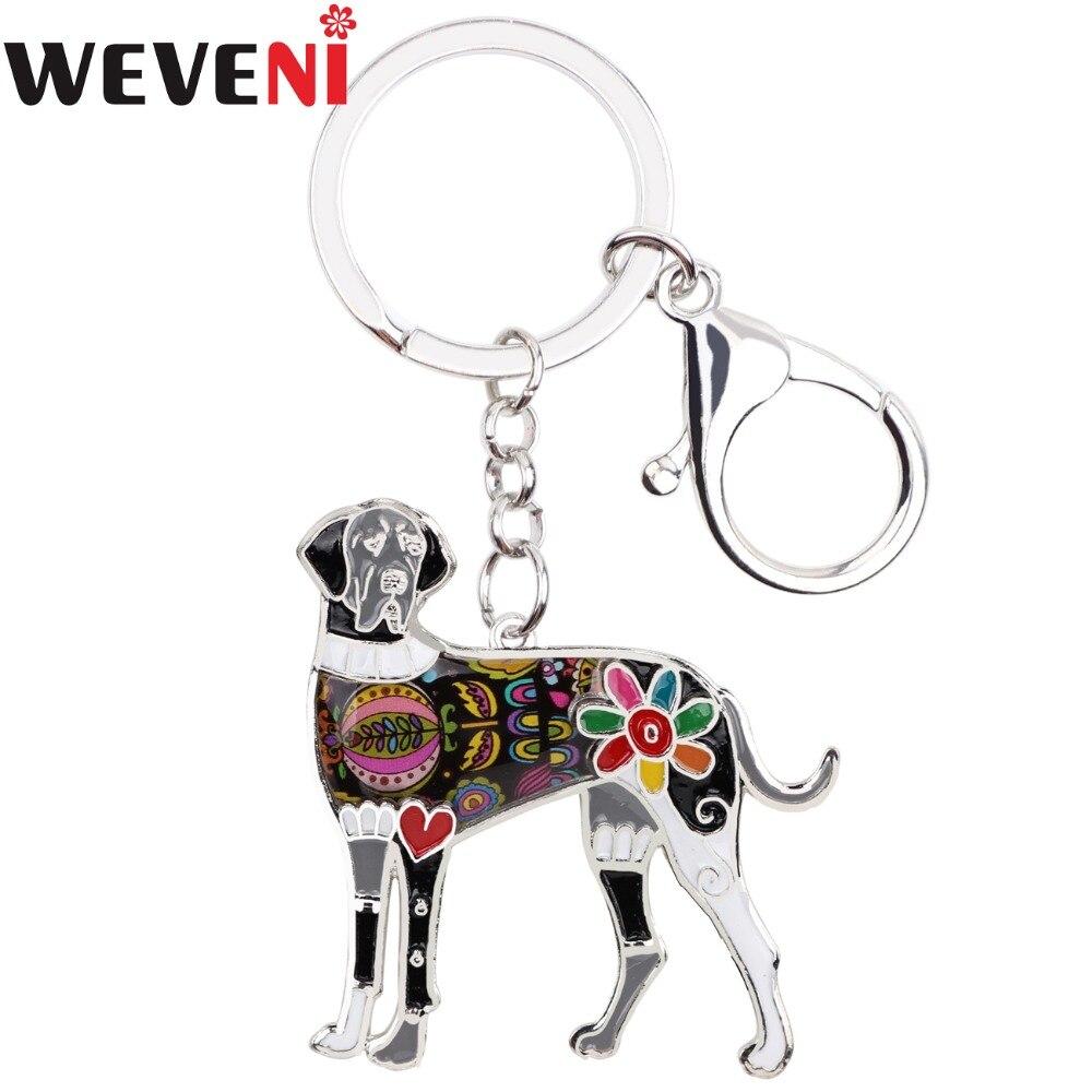 LLavero de Metal esmaltado Perro Gran Danés WEVENI, llavero, bolso de mano, llavero, accesorios, Nueva joyería animal de moda para mujer