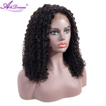 Perruque Lace Front Wig malaisienne naturelle Non Remy-Alidoremi   Cheveux bouclés, couleur naturelle, 13x4, 8-26 pouces, 100% cheveux humains