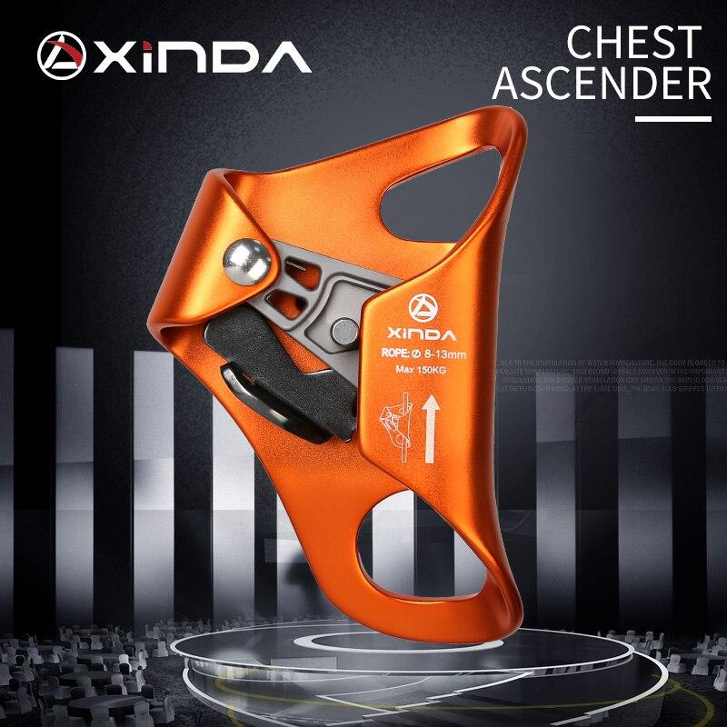 XINDA חיצוני קמפינג רוק טיפוס Ascender חזה בטיחות חבל עולה אנטי ליפול הישרדות אנכי חבל טיפוס ציוד