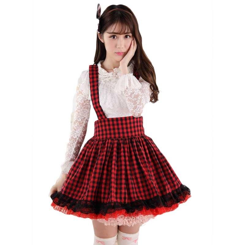 Клетчатая кружевная школьная форма в стиле Лолиты, красивая японская женская юбочка в стиле Харадзюку