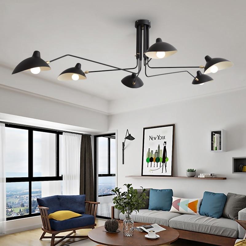 Черный блестящий железный подвесной светильник, регулируемые люстры, потолочный Лофт, гостиная, спальня, кухня, светодиодный светильник, св...