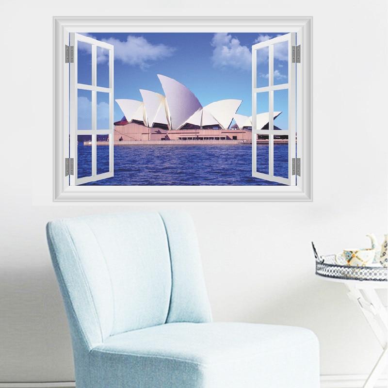 Сиднейская опера, наклейки на стене дома для гостиной, Декорации для города, 3D-наклейки на окна