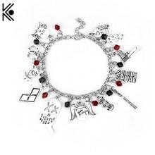 New Design Suicide Squad Charm Bracelet Joker Quinn Multiple Clown Pendant Movie Jewelry Fashion Bracelets For Women Gift