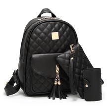 Sac à Dos en cuir PU pour femmes   Ensemble de sacs décole pour filles, sacs à bandoulière avec pompon, 3 pièces/ensemble