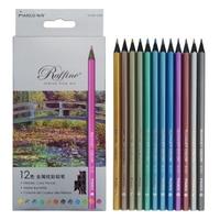 12colors/Box Marco Black Wood Metallic Colored Pencils Beautiful Drawing Pencil Graffiti Lead Crayons Rainbow Lapis De Cor 5101B