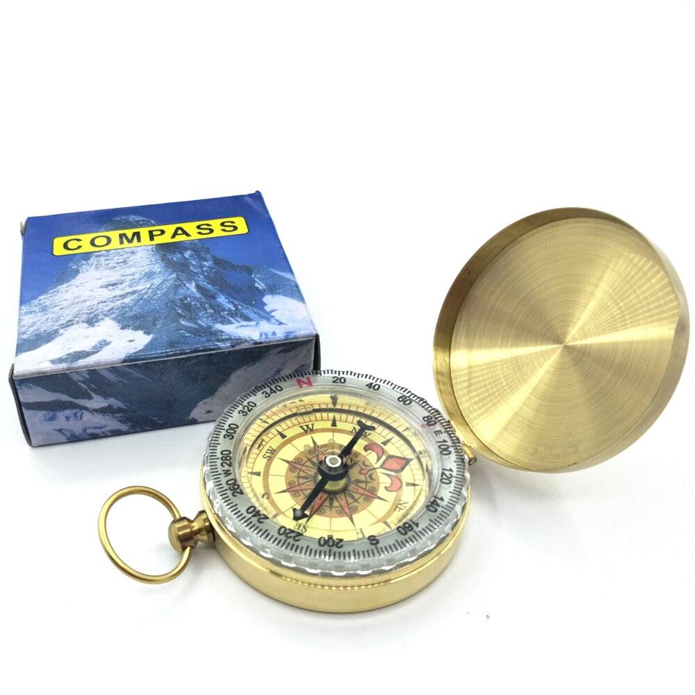 Brújula de alta calidad nueva herramienta de Camping al aire libre senderismo portátil bolsillo Latón dorado Color cobre doble Brújula de visualización navegación