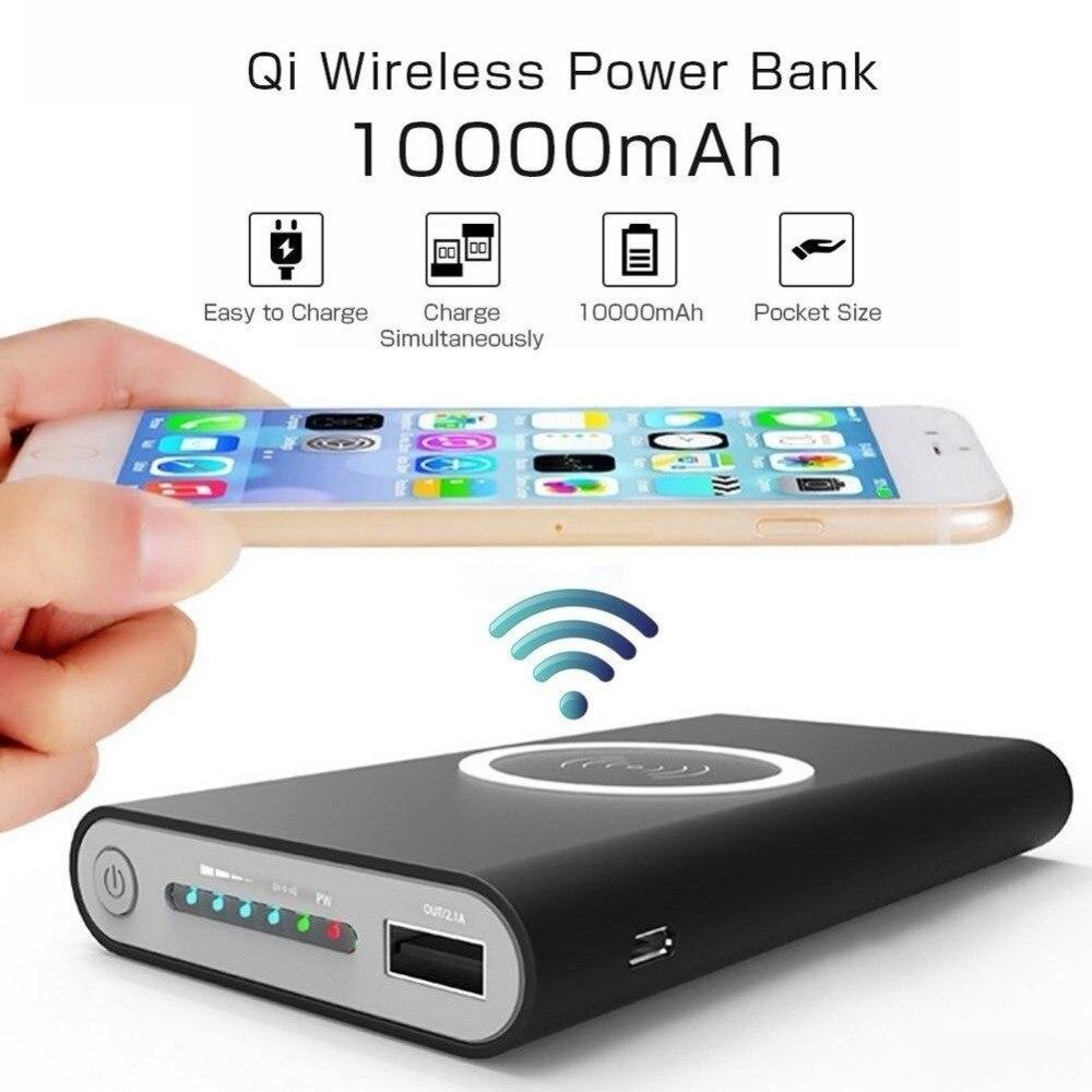 Cargador inalámbrico Qi portátil 10000mAh banco de energía para iPhone X Xs Max Samsung S8 Xiaomi Powerbank Paquete de batería externa Poverbank