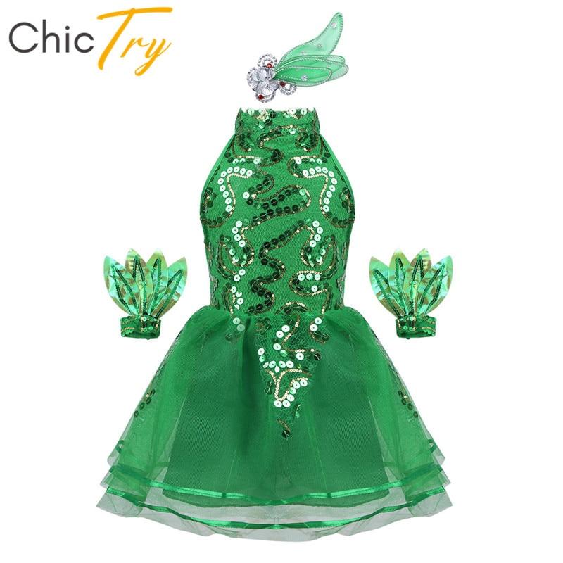 ChicTry niños niñas sin mangas verde brillante lentejuelas etapa danza Jazz traje niños niñas tutú de Ballet de malla vestido
