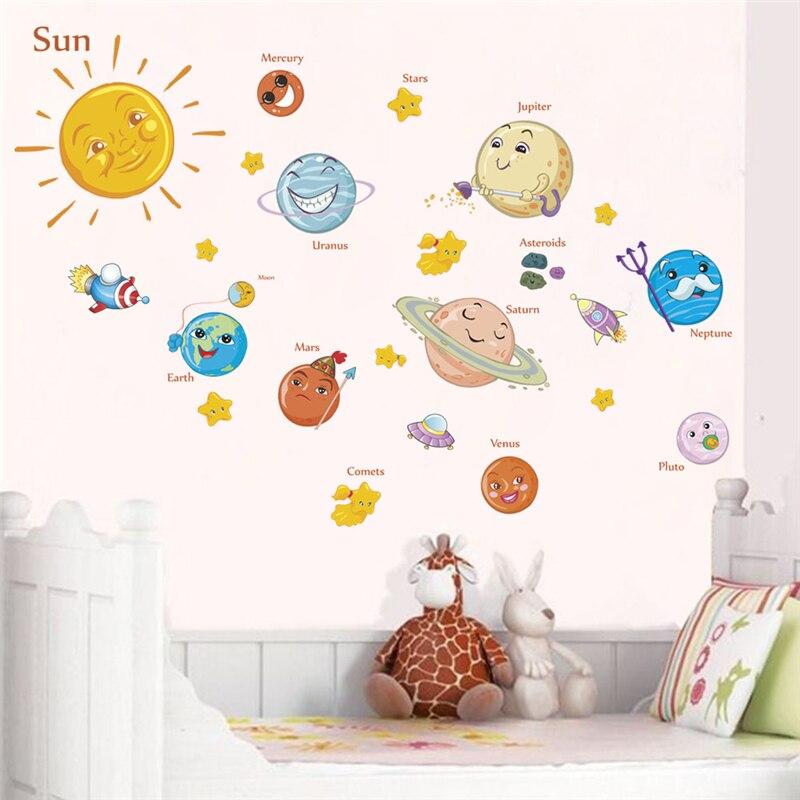 Прекрасные солнечные системы настенные наклейки для детских комнат домашний декор внешняя Космос планеты Земля солнце Сатурн Марс настенные наклейки diy росписи искусства