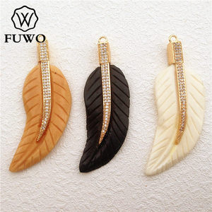 FUWO Natural Bone Carved Micro Pave Leaf Feather Pendant High Quality Multicolor DIY Jewelry Necklace Making Supplies PD1011