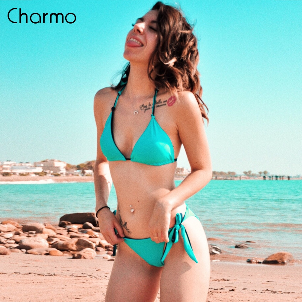 Женский купальник с заниженной талией Charmo, однотонный купальник с лямкой на шее, бандажный комплект бикини, сексуальный купальный костюм в ...