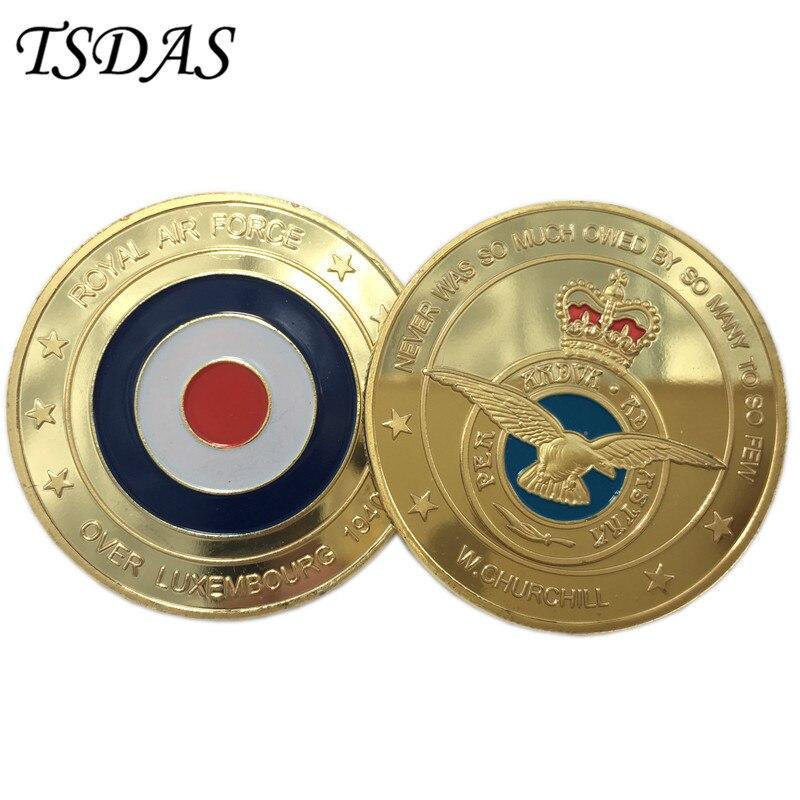 EUA Força Aérea Real Honrosa Aposentado Challenge Militar Banhado A Ouro Colorido Moeda Medalha, Estados Unidos Moedas Banhado A Ouro