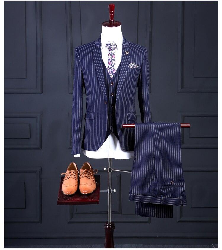 Traje de hombre de rayas azules a la moda ajustado de 3 piezas para hombre trajes de fiesta de boda de novio (chaqueta + Pantalones + chaleco)