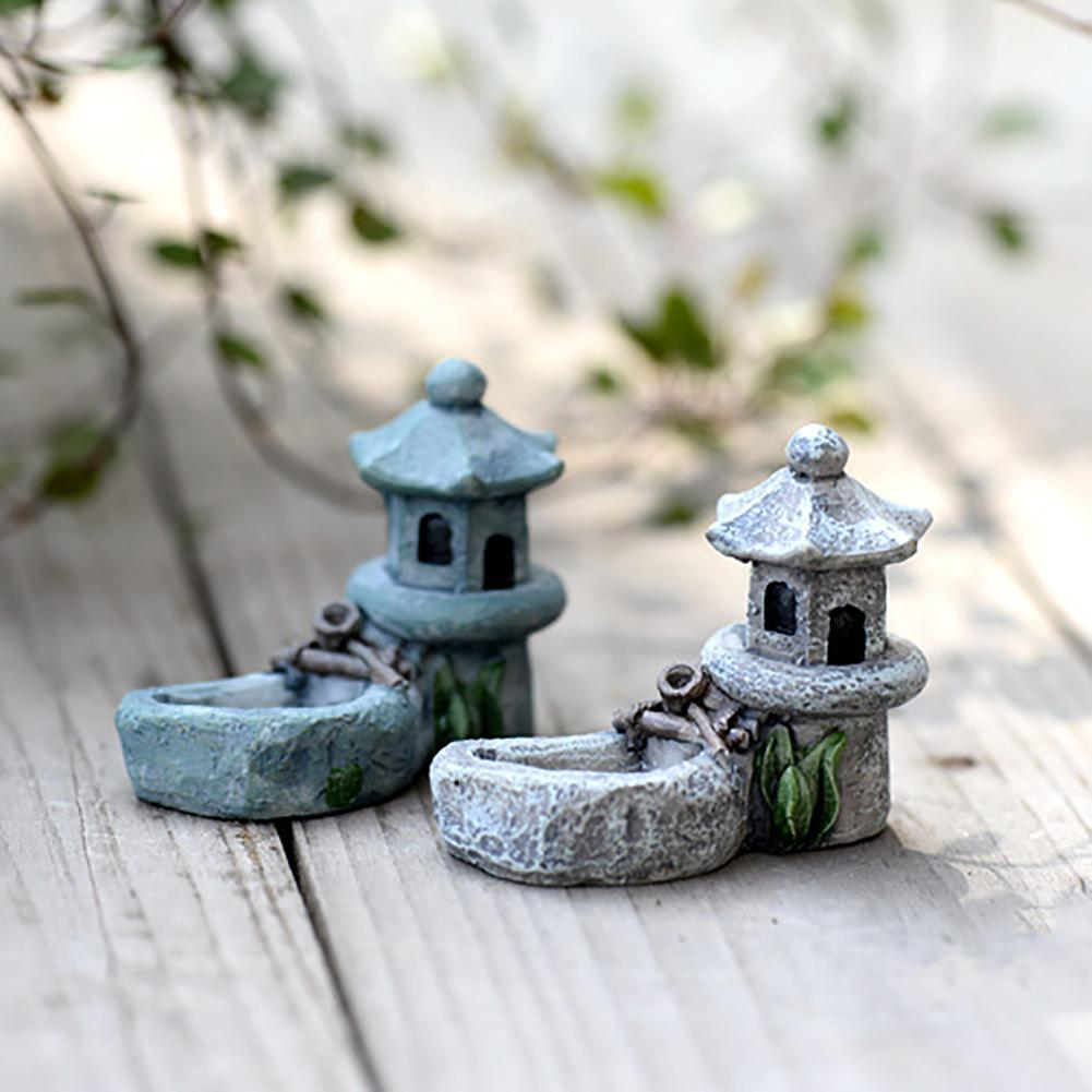 Mini Torre de la piscina miniatura paisaje DIY ornamento resina decorativa para jardín