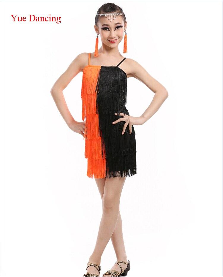Paso Doble платье Сальса танцевальный костюм девушка сексуальное платье Танго дети Чарльстон с бахромой танцевальный костюм детская одежда для бальных танцев