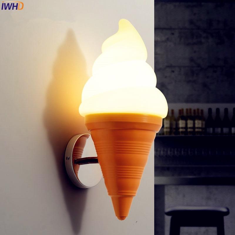 IWHD-مصباح حائط على شكل آيس كريم ، مصباح حائط LED حديث مع تصميم كرتوني ، مثالي لغرفة الأطفال أو البار