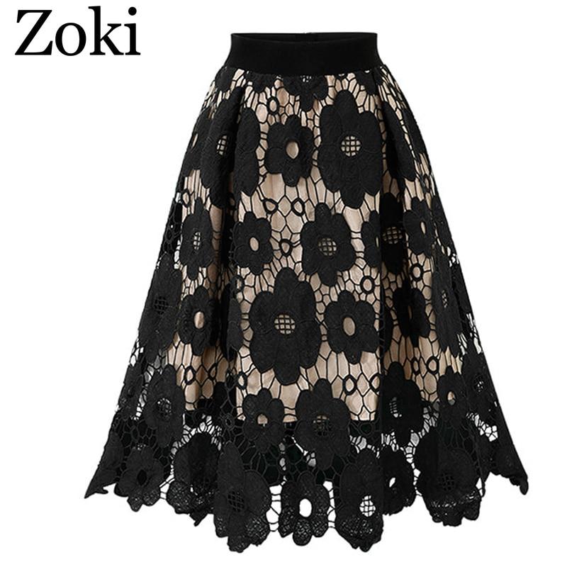 Zoki Sexy lace women skirt summer vintage high waist female midi calf party night club skirt A-line solid faldas mujer moda 2020