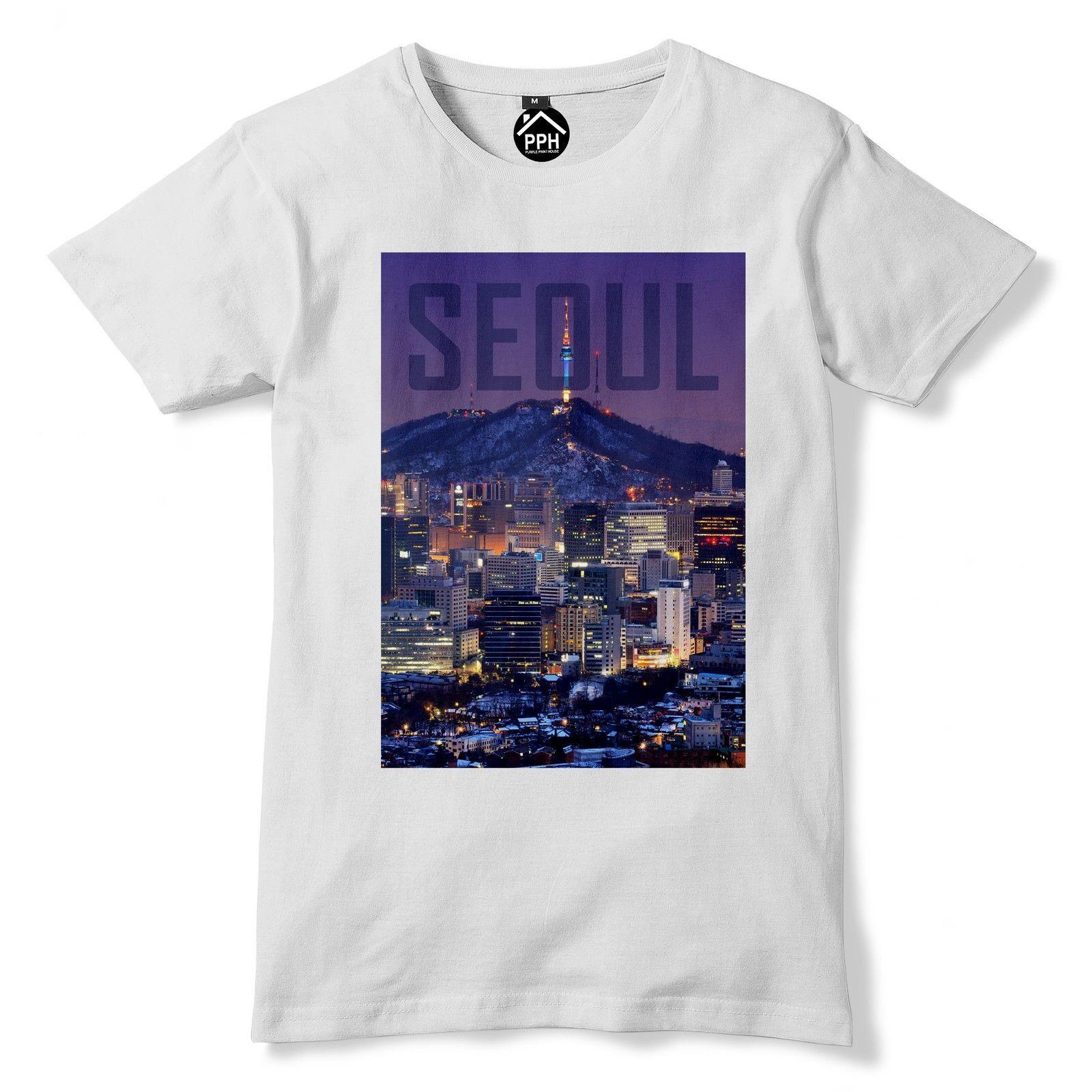 Camiseta Seoul Corea del Sur camiseta Asia Top paisaje urbano rascacielos Dongdaemun 154 envío gratis camiseta de moda estilo hombres