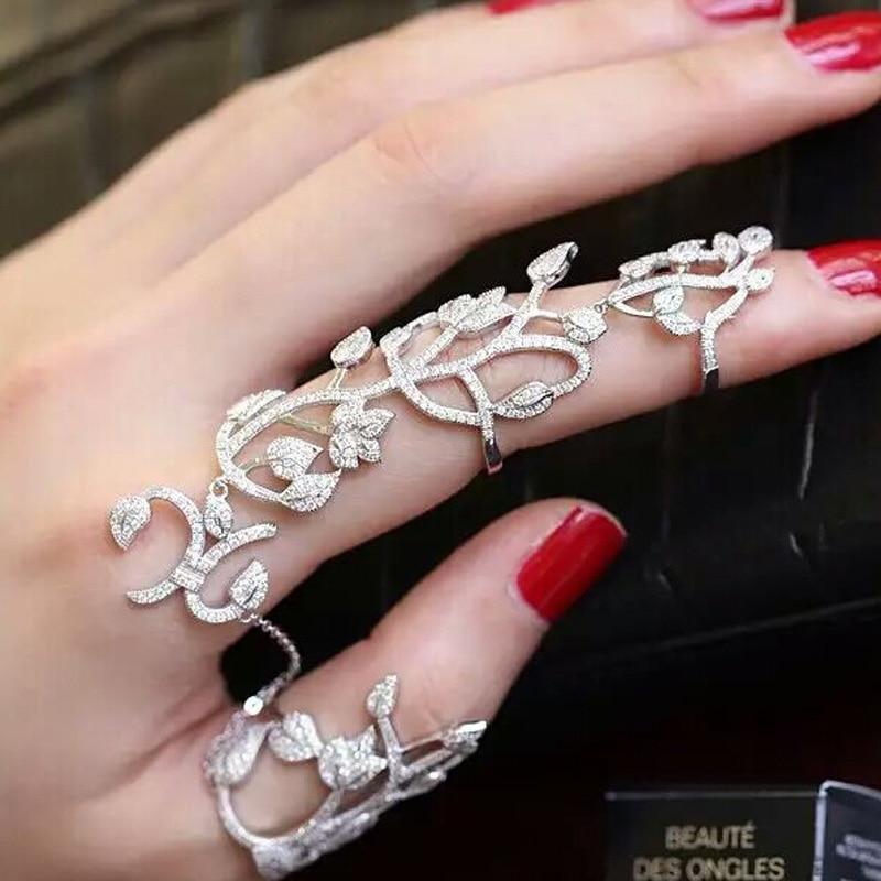 ¡Novedad de 2019! joyería Popular anillo de ratán de hojas huecas exageradas nuevo anillo conectado de alta calidad para joyería de mujer