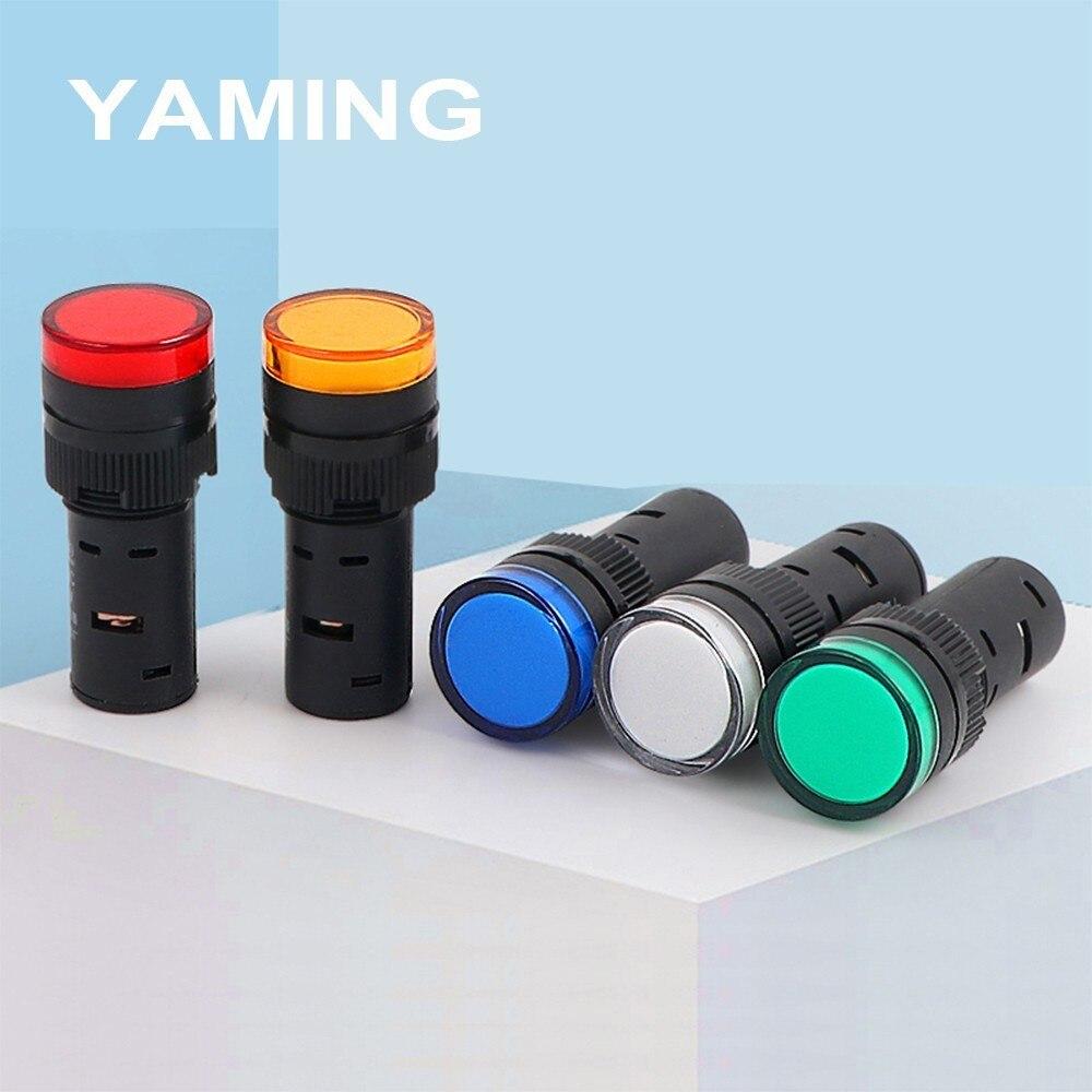16mm fonte de alimentação luz indicadora AD16-16C led sinal 24 v 220 v 380 v sinal piloto lâmpada vermelho amarelo verde azul branco