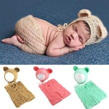 Mohair newborn fotografia adereços trajes boné/chapéu + babados calças bonito urso bebe 2 pçs conjunto bebê malha fotos acessórios