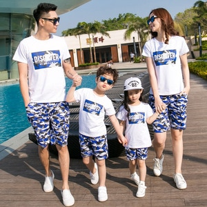 Summer Family Matching Outfits Dad Son Mom Girls Sets Vacation Short Sleeve T-shirt+Camouflage Shorts 2PCS Sport Suits Clothes