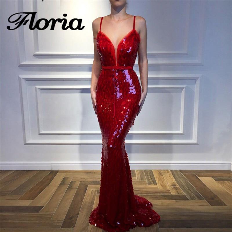 Vestidos de Noche de lentejuelas Rojas árabes 2018 árabe Aibye musulmán Sexy sin tirantes Formal vestido de fiesta bata de soiree vestidos de fiesta turcos