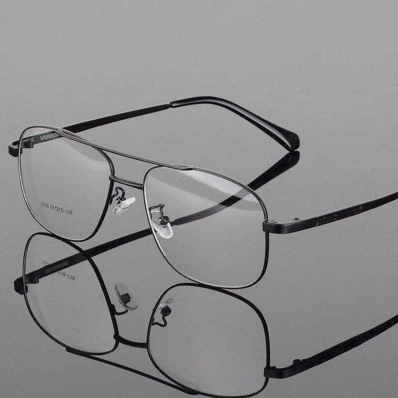 Lunettes myopie carrées hommes   Cadre de lunettes en alliage, grande monture métallique de Prescription, armature complète de lunettes 2256