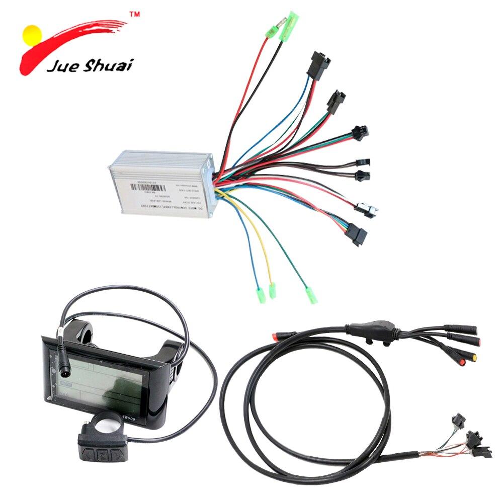 Kit de Bicicleta eléctrica de 36V y 500W con pantalla LED LCD, controlador de Bicicleta eléctrica con Cable impermeable, piezas para Bicicleta eléctrica
