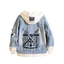 Épée Art en ligne SAO imprimer Harajuku femmes Streetwear TouHou projet longue veste en jean à capuche unisexe sweat à capuche japonais