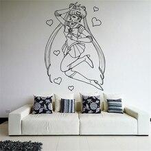 Cartoon Home Decor Wall Vinyl Sticker Decal Anime Manga Sailor Moon Girl Nursery Kids Room Wall Sticker D132