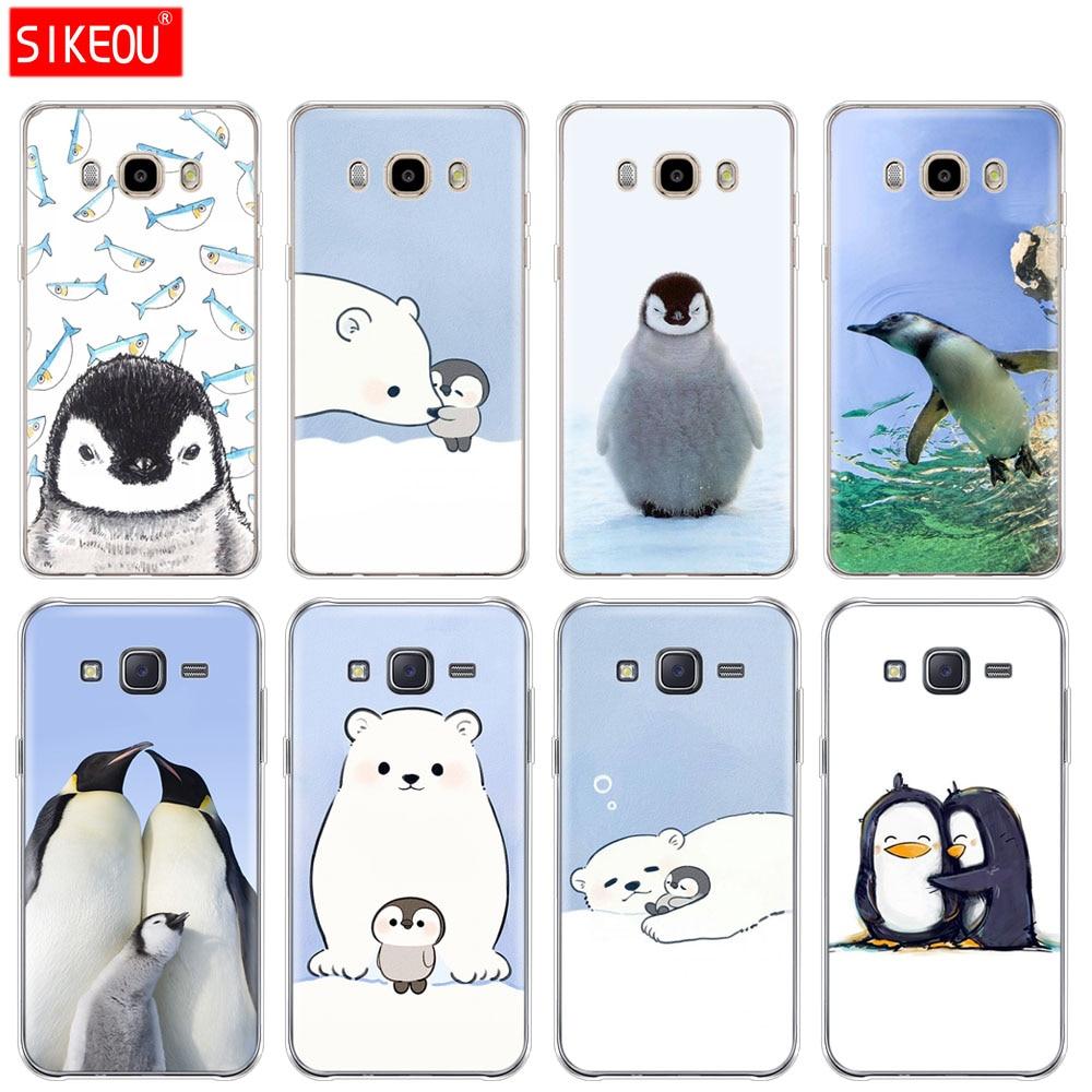 Funda de silicona para teléfono funda para Samsung Galaxy J1 J2 J3 J5 J7 MINI 2016 2015 prime Lovely pingüino oso Polar