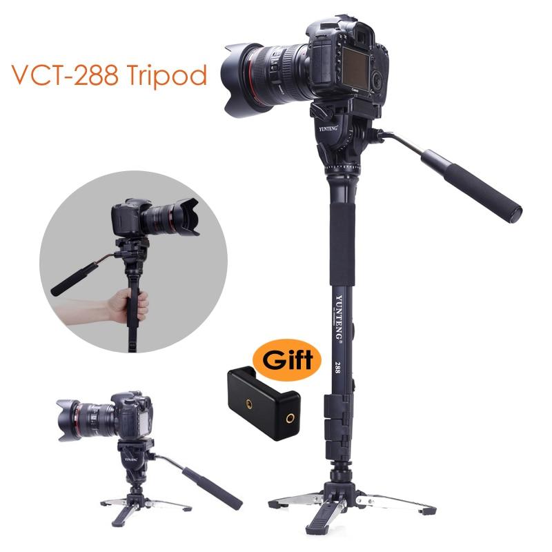 Trípode monopié para cámara Yunteng 288 + cabezal de inclinación fluida + soporte Unipod Base para cámara digital DSLR Smartphone Clip