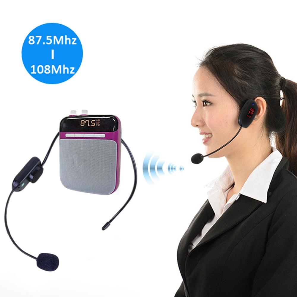 Mikrofonlu kulaklık radyo FM kablosuz kulaklık mikrofon Handsfree megafon mikrofon öğretim konferansı için kılavuz stüdyo promosyon