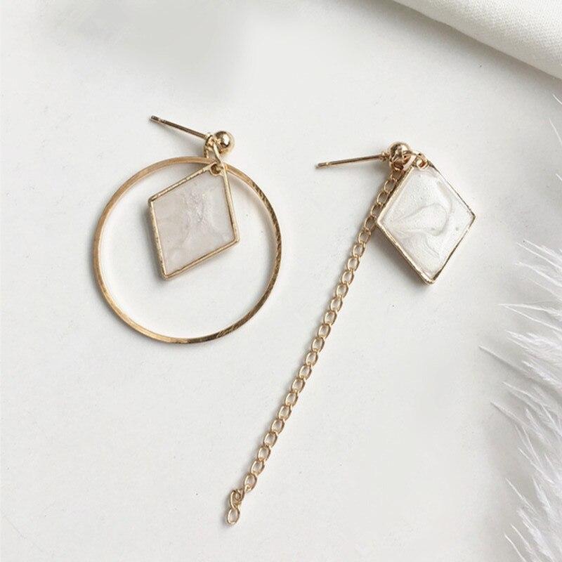 Moda temperamento coringa círculo irregular feminino jóias brinco oco redondo losango geométrico geométrico brincos assimétricos