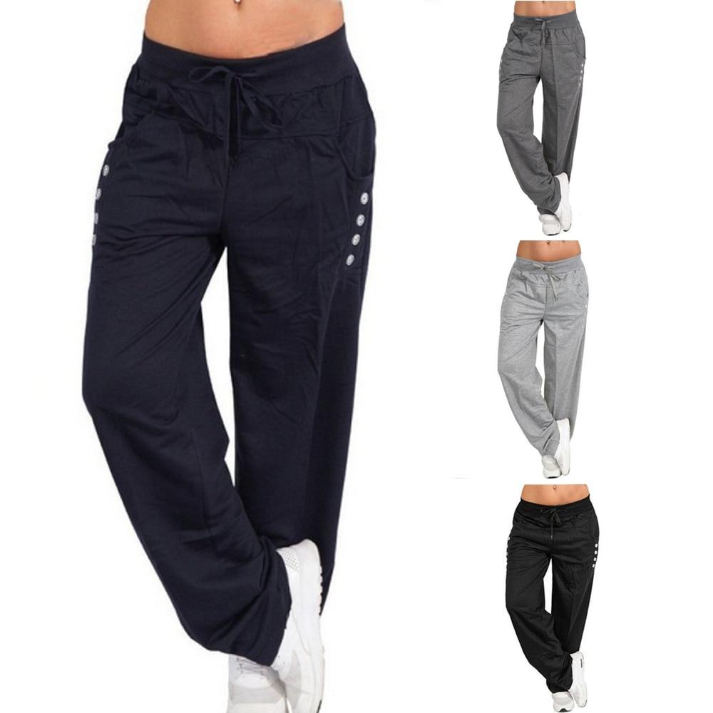Pantalones de talla grande S-5XL para mujer, pantalones holgados informales para correr, Pantalones de deporte y entrenamiento, pantalones para correr, ropa deportiva, pantalones con cordones para Fitness