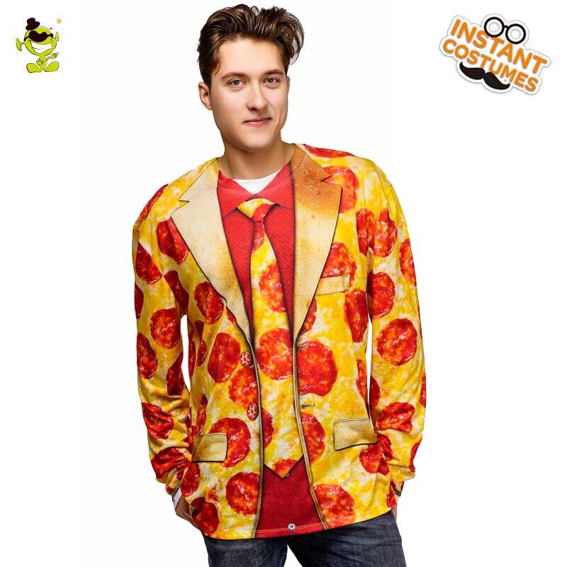 Nova chegada pizza impresso t-camisa fantasia vestido na festa de carnaval role play pizza manga longa camiseta para camisetas masculinas