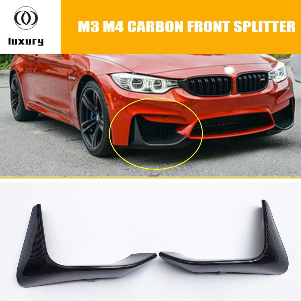 1 par M3 M4 de fibra de carbono para lateral de parachoques divisor delantal para BMW F80 M3 F82 F83 M4 Coupe parachoques Original M sólo 2012-2018