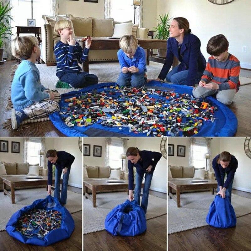 Tapete de juego juguete para niños de 1,5 M, bolsas de almacenamiento, organizador de gran tamaño para limpiar, estera de juego, bolsa de almacenamiento duradera, estera de bloques de construcción para exteriores