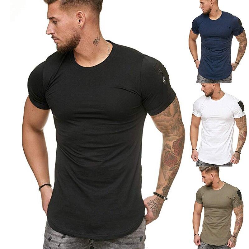 Modelos de explosión bolso de hombro para hombres costura con cremallera Casual de gran tamaño cuello redondo Camiseta de manga corta de verano