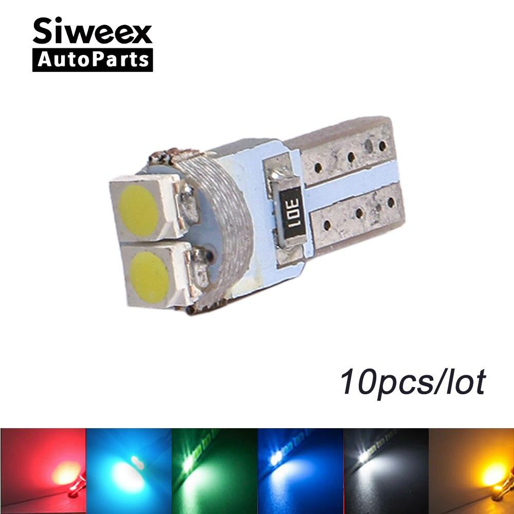 10 Uds T5 LED tablero instrumentos indicador luz velocidad cuña 3528 LED 2SMD PC74 12V lámpara de coche bombilla blanco rojo verde azul amarillo