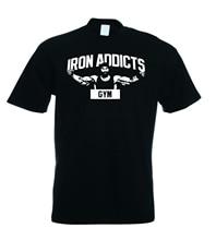 IRON ADDICTS GYMER T SHIRT CT FLETCHER MIKE RASHID - Black  Sleeves Boy Cotton Men T-Shirt Top Tee  Breathable