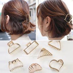 Mulheres minimalista mini grampos de garra de cabelo metálico ouro oco para fora geométrico rabo de cavalo titular braçadeira concha coração bowknot barrettes