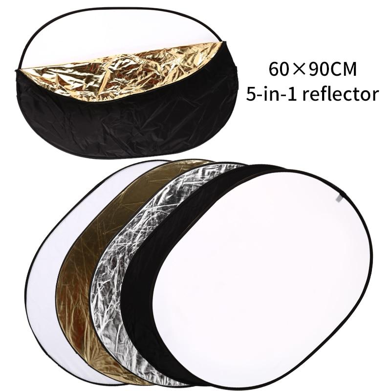 5 En 1 portátil 24 pulgadas x 36 pulgadas/60cm x 90cm Oval plegable Multi disco fotografía estudio foto Cámara iluminación Reflector