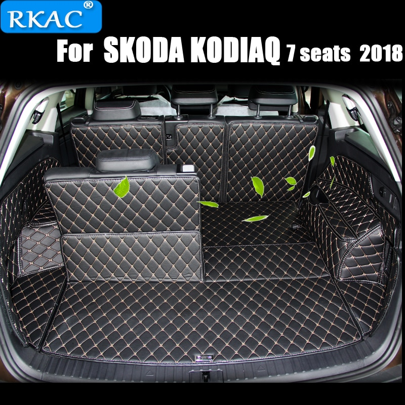 7 KODIAQ RKAC Custom Car Tronco Mats Para SKODA 2018 ASSENTOS Tapetes À Prova D Água Forro De Carga Interior Acessórios car styling