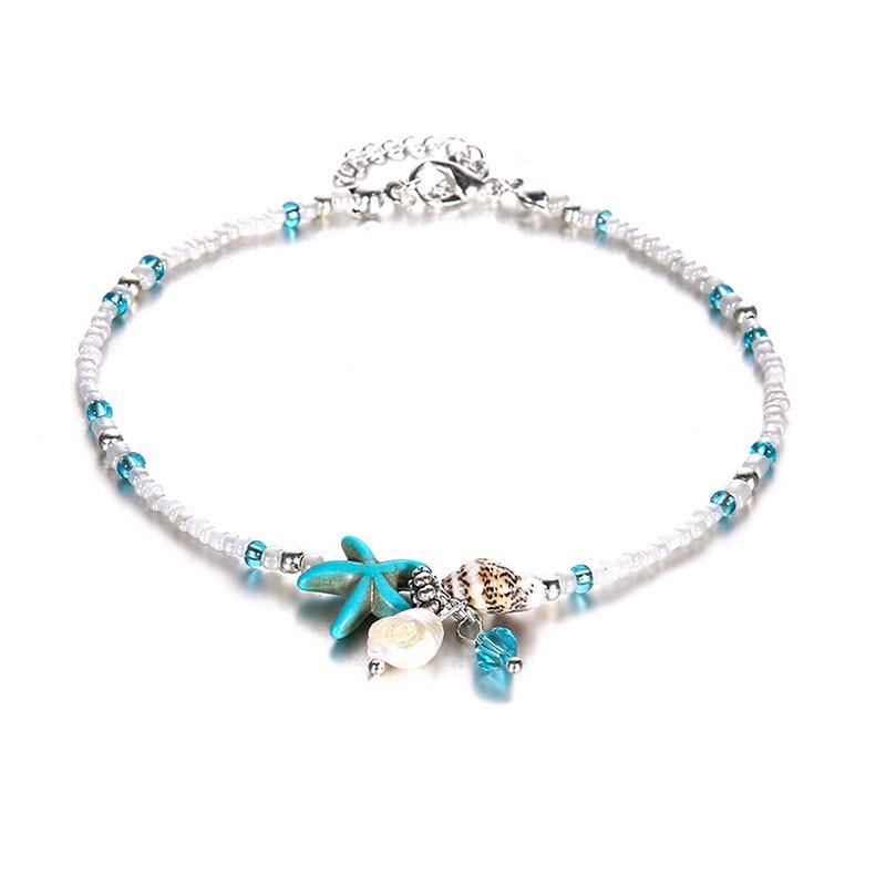 ZG Vintage Antique Silver Color Anklet Women Big Blue Stone Beads Bohemian Ankle Bracelet cheville Boho Foot Jewelry