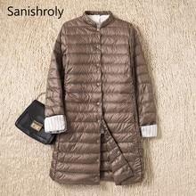 Sanishroly 2019 femmes Midi Long manteau automne hiver Ultra léger vers le bas manteau Parka femme blanc canard doudoune grande taille 2XL SE593