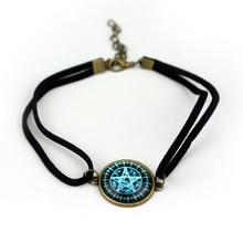 Anime bijoux noir majordome lunettes pentagramme Bracelets pour femme Double couche corde Bracelet