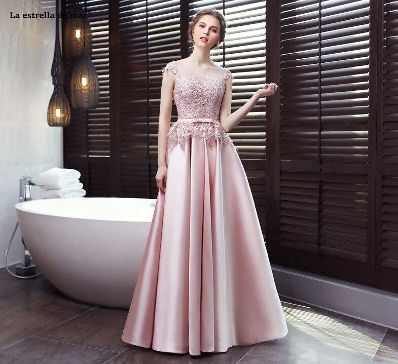 Vestido elegante de madrinha de casamento2019 nuevo encaje sombrero de satén manga abrir una línea rosa de dama de honor vestido largo mariage